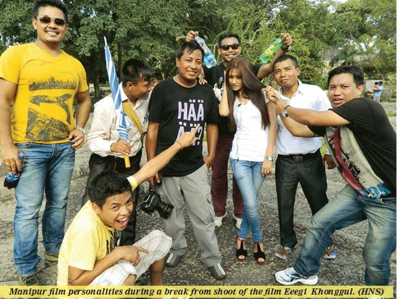 Manipur Film personalities during a break from shoot of the film 'Eegi Khongul'