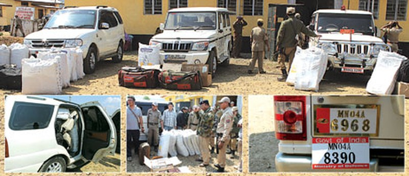 The three vehicles and the drugs consignment and the two number plates on the Bolero in which the Col was travelling