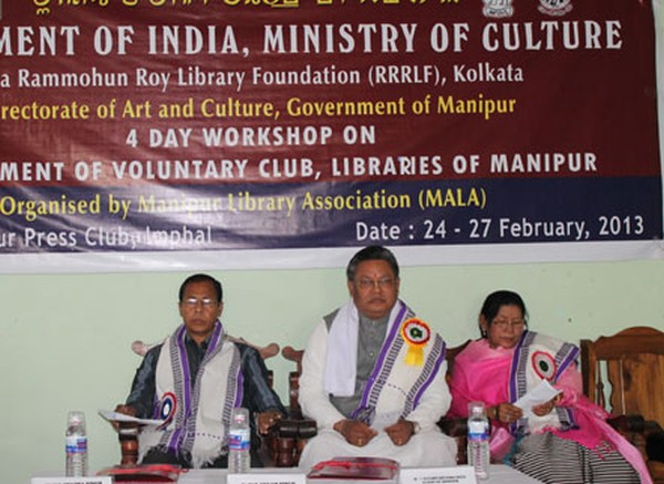Dignitaries presiding a workshop on library organised by MALA at Manipur Press Club