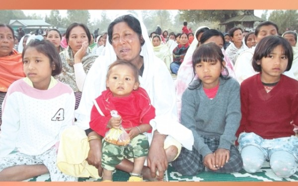 Protest on  killing of Ningombam Gobardhan at Wangjing Hodamba Lampak, Thoubal on February 08 2013