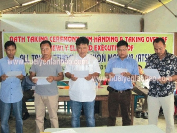 Newly elected executives of ATSUM taking oath during a function at Senepati in July 02 2013